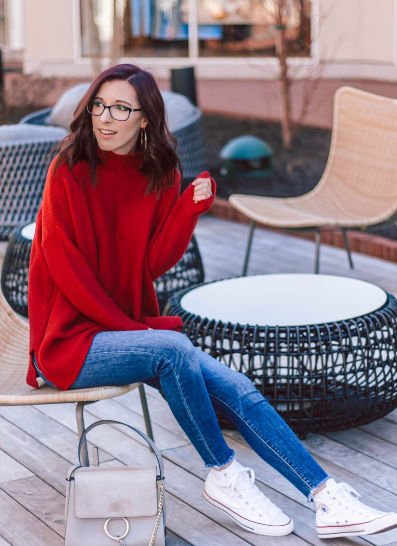 Casually Stylish Way to Wear a Chunky Red Sweater