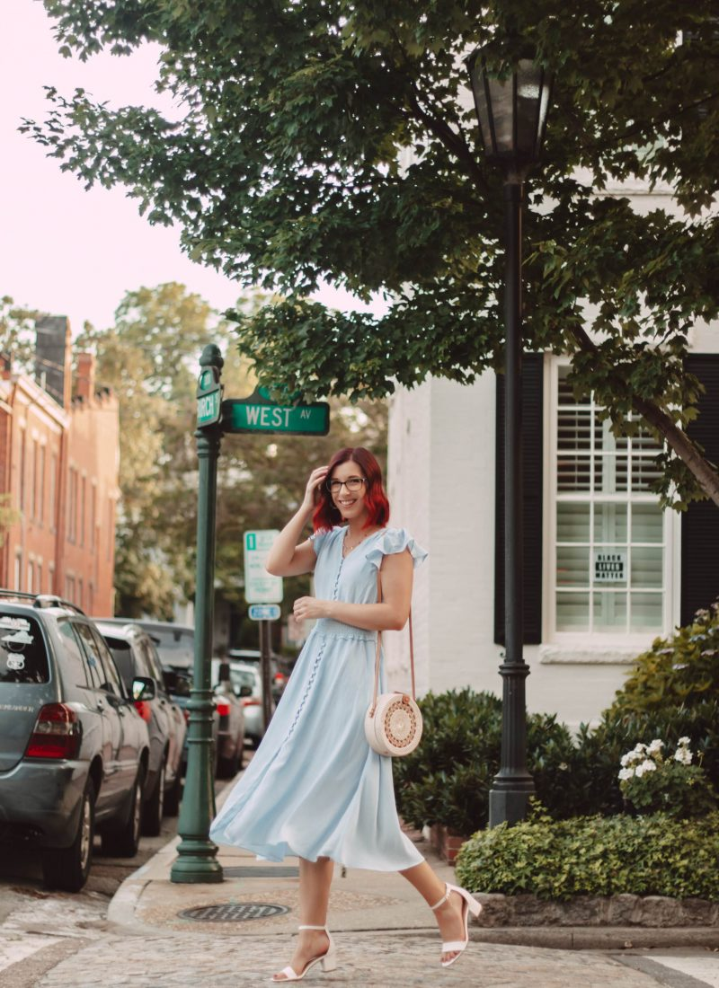 How to Style a Light Blue Midi Dress for Summer