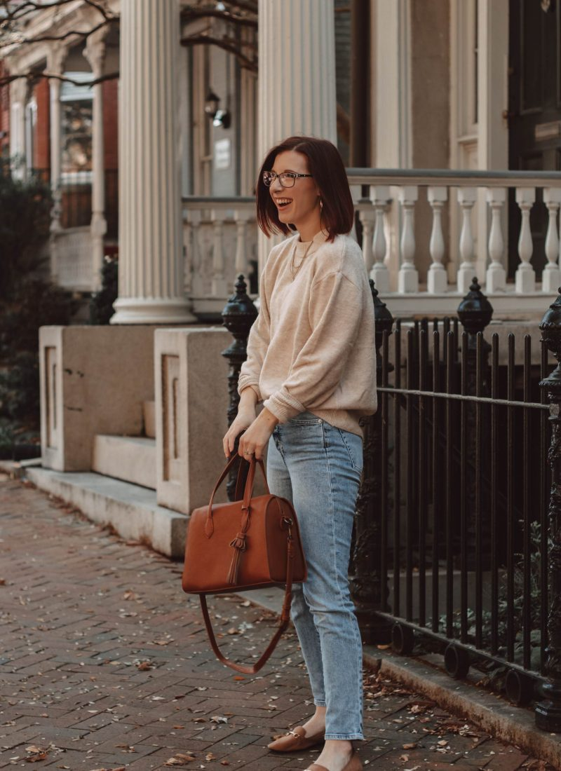 How to Style an Oversized Sweater with Mom Jeans | She Saw Style