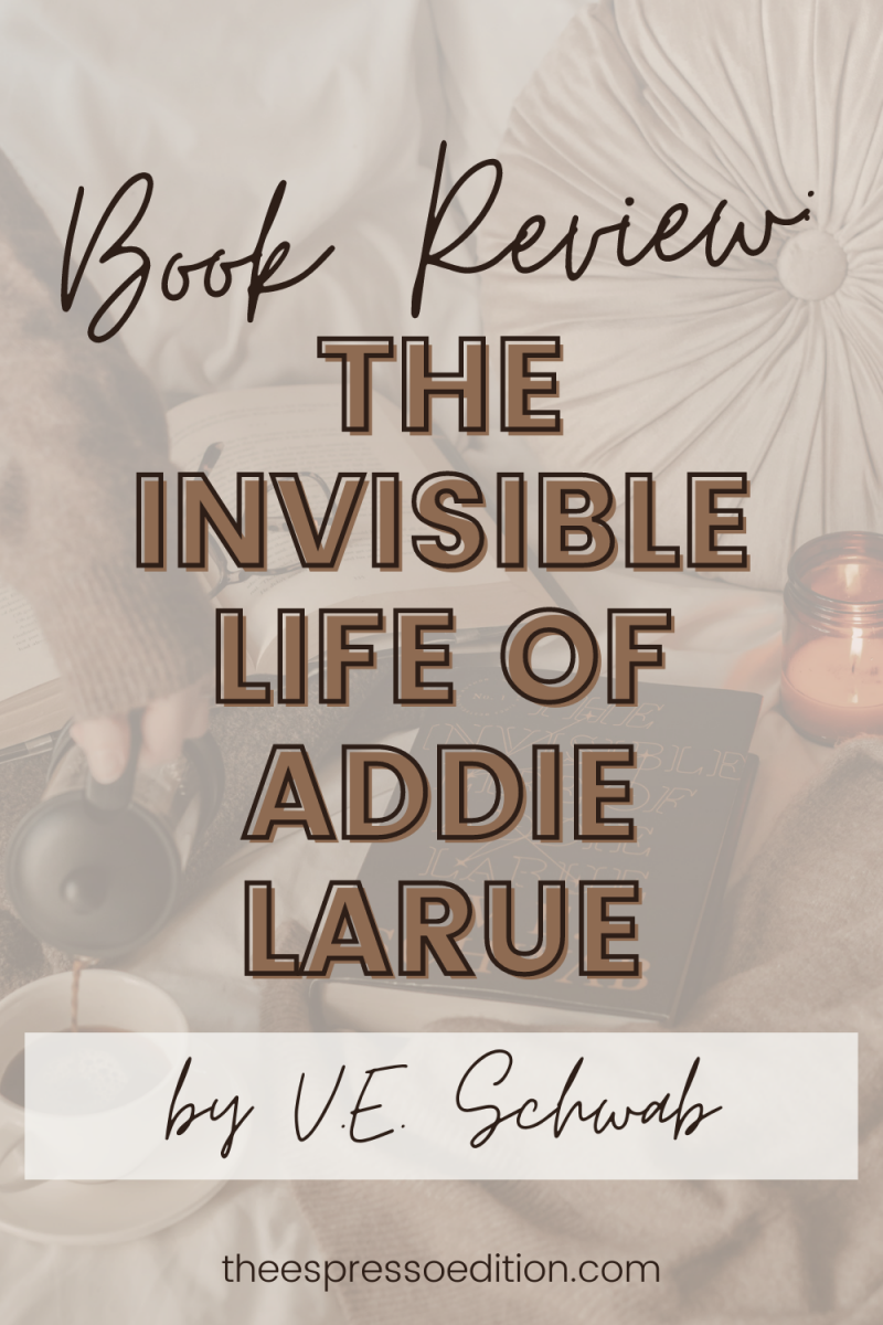 hand pouring coffee from french press into mug next to the invisible life of addie larue